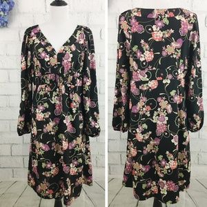 LOFT Black Floral Empire Waist Dress Long Sleeve